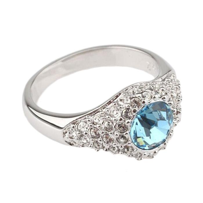 Кольцо с голубым камнем, кольцо Сваровски с голубым камнем