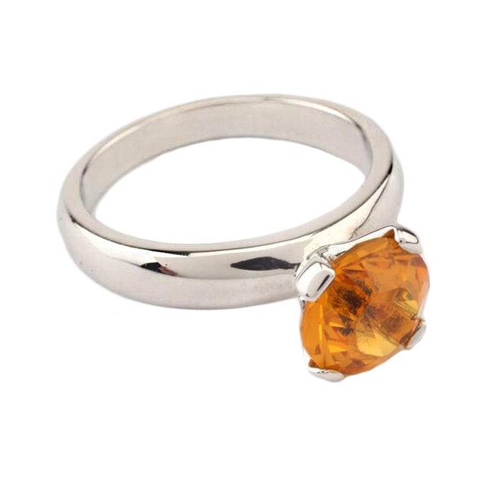 Кольцо с жёлтым камнем, кольцо с одним жёлтым камнем