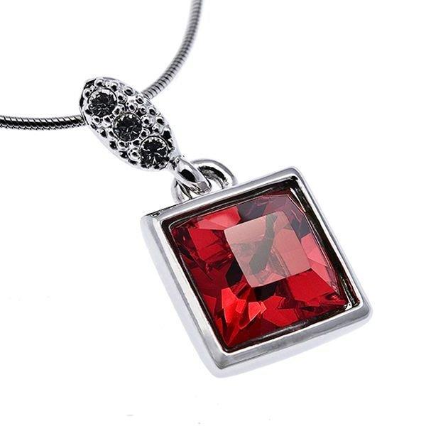 Подвеска красная квадратная Swarovski, квадратная подвеска красного цвета