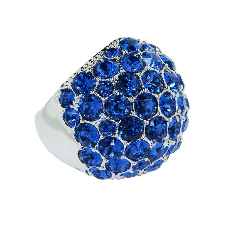 Кольцо крупное с синими камнями, большое кольцо с синим камнем