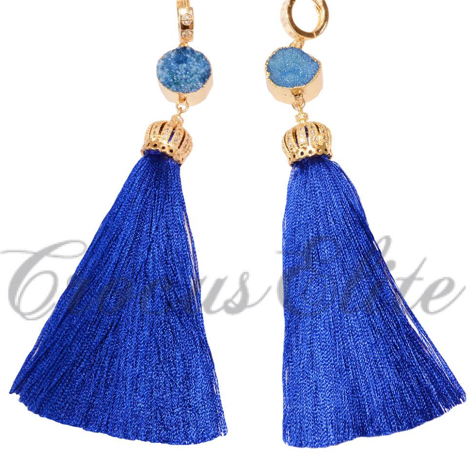 0b92bb976db9 Серьги-кисточки синие купить в Москве